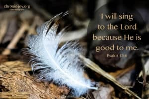 I will sing to the Lord because He is good to me.
