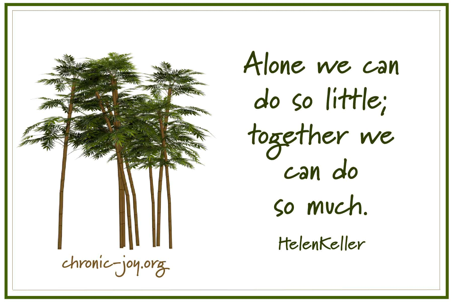 Alone we can do so little, together we can do so much. ~ Helen Keller