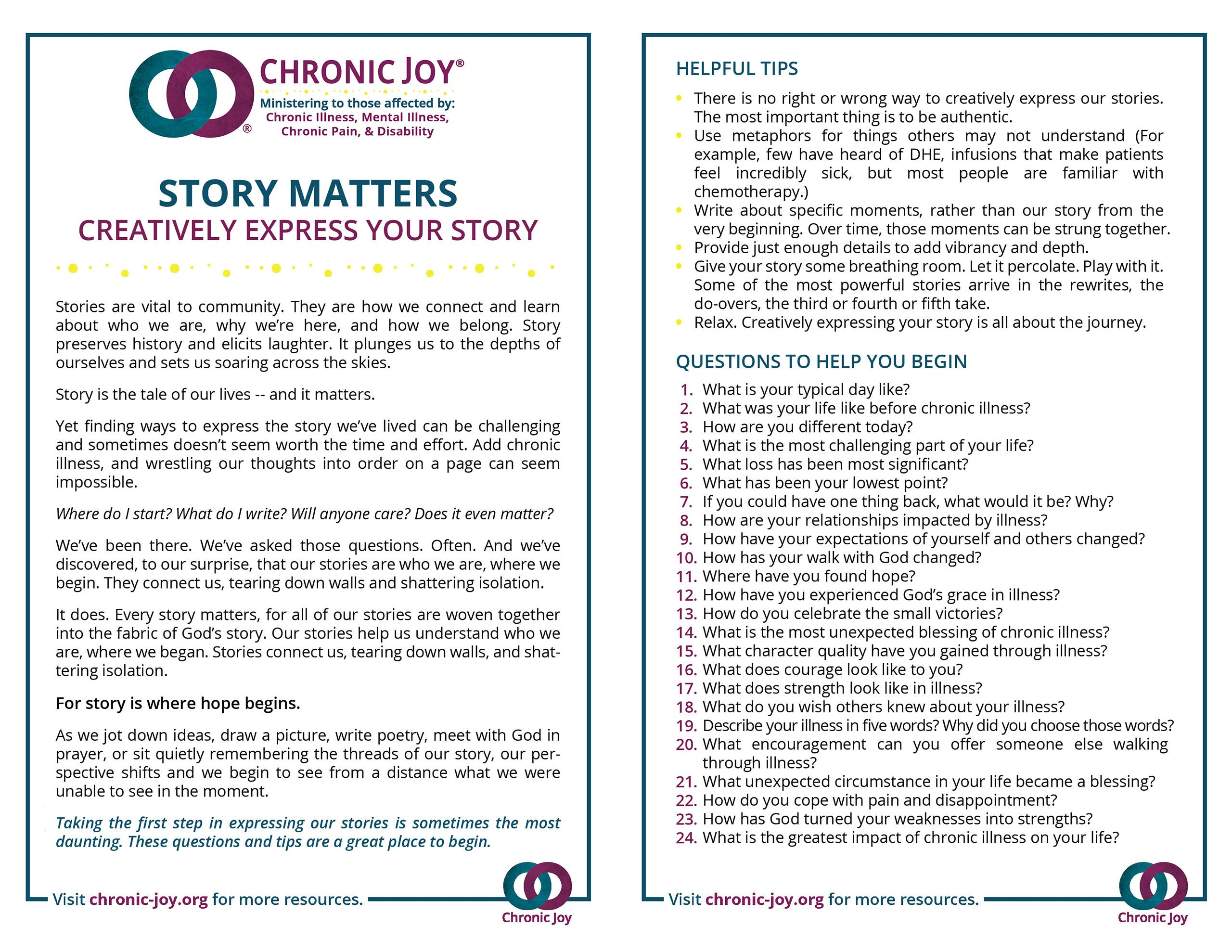 Story Matters • Writing the Story of Your Illness