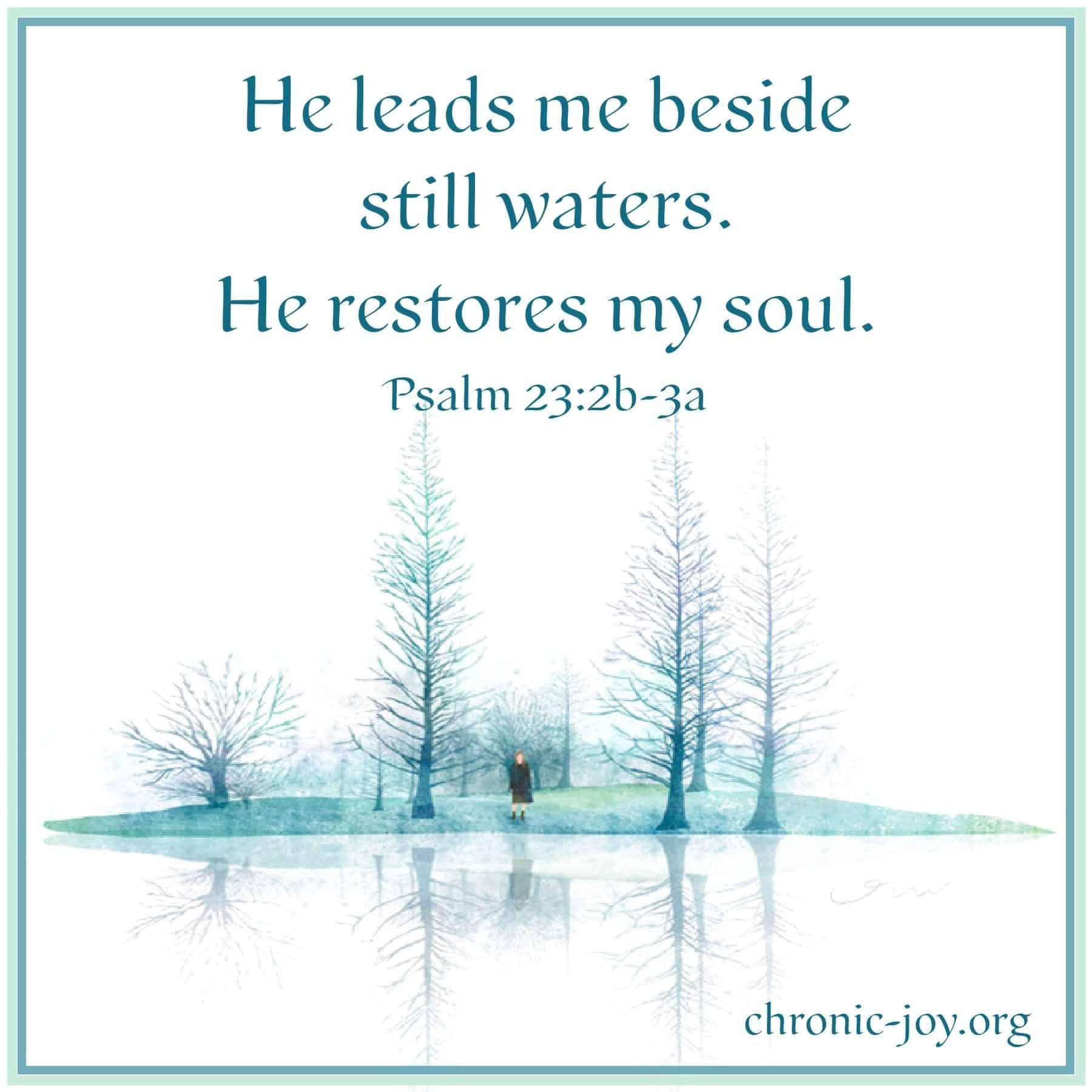 He leads me beside still waters. He restores my soul.