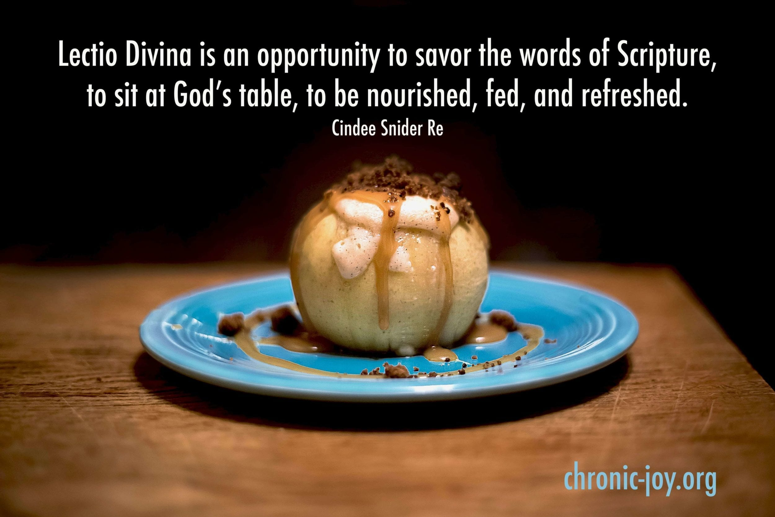 Lectio Divina, Holy Reading, baked apple on blue plate
