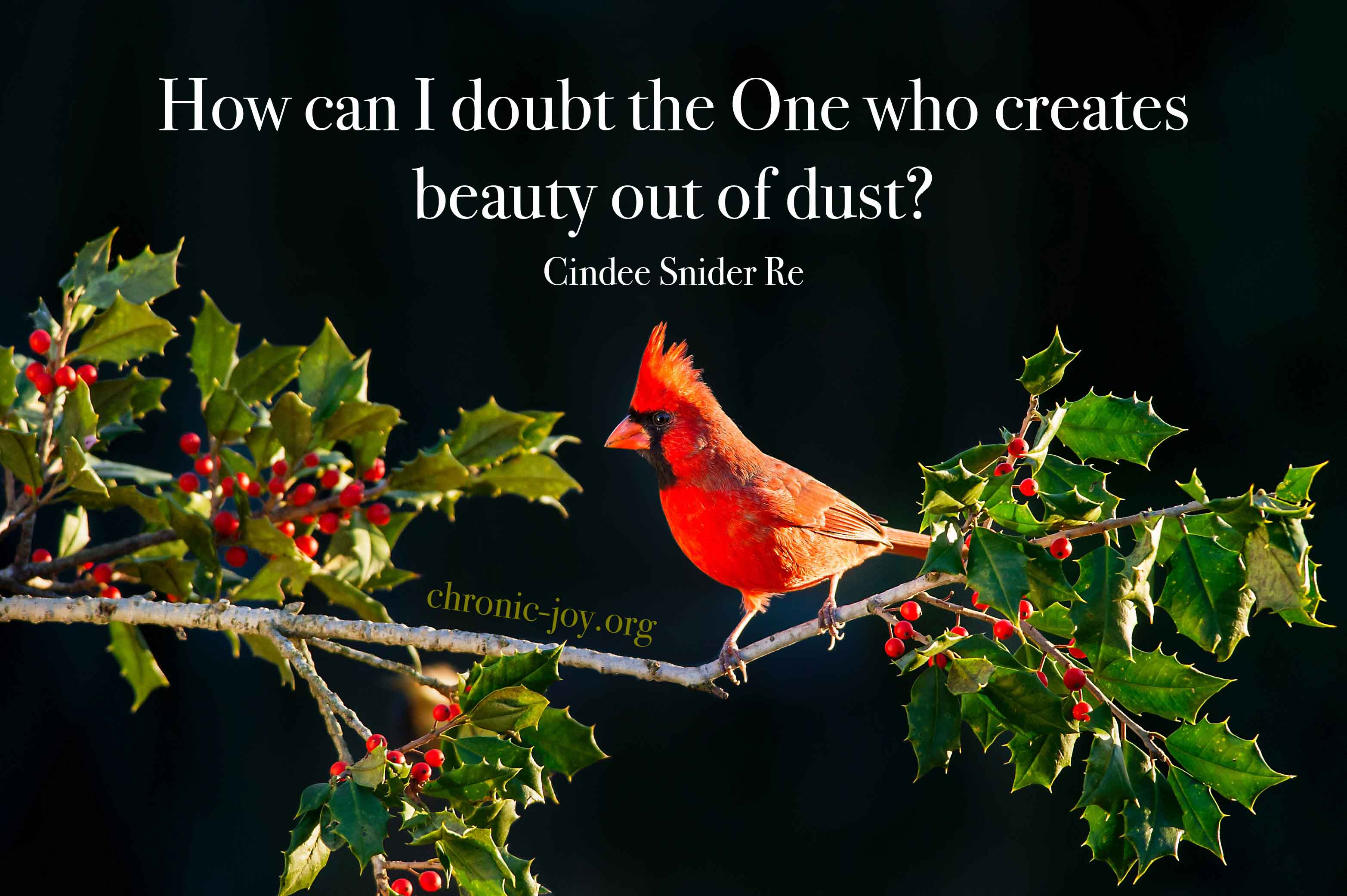 God creates beauty out of dust.