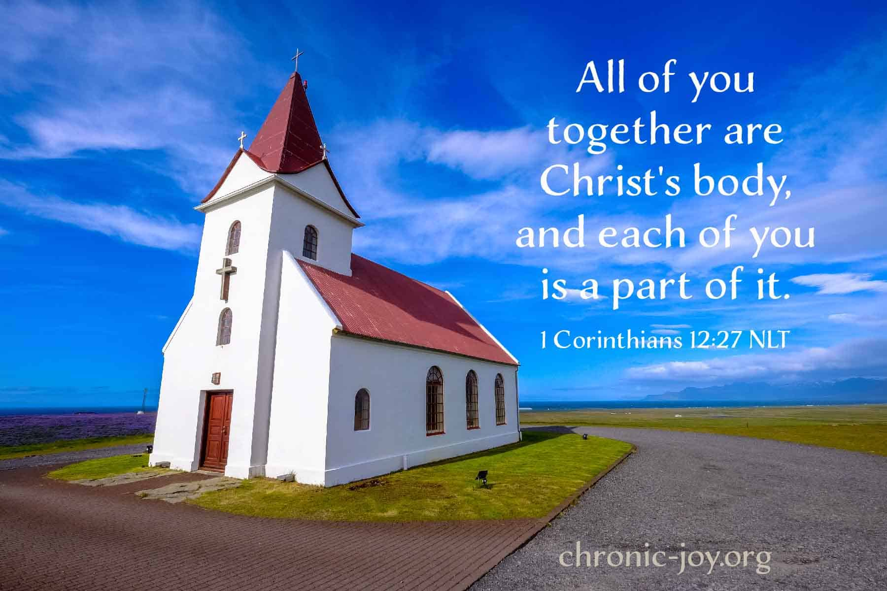All of you together are Christ's body and each of you is a part of it. 1 Corinthians 12:27