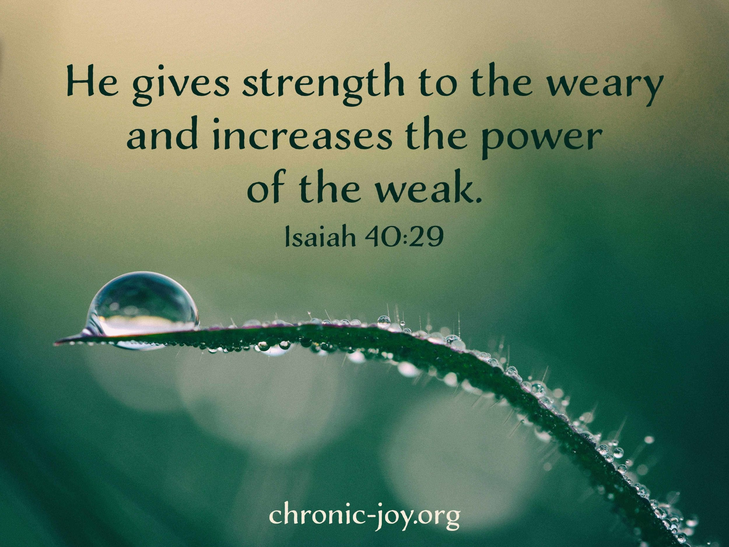 He gives strength to the weary...