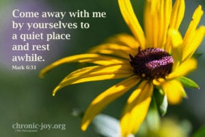 Come away with me by yourselves to a quiet place and rest awhile. Mark 6:31