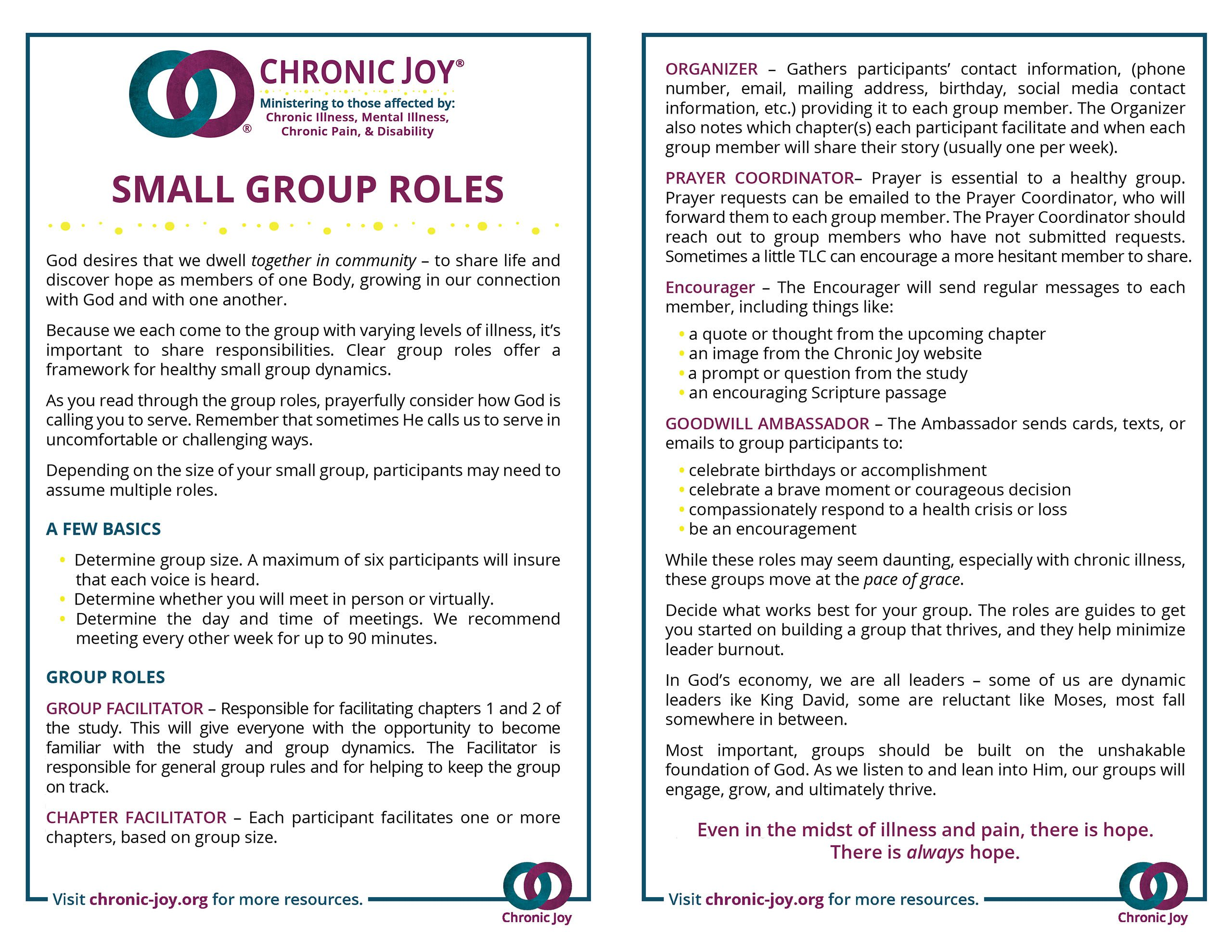 Small Group Roles