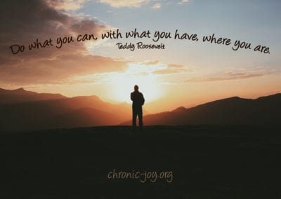 Do what you can, with what you have, where you are. ~ Teddy Roosevelt