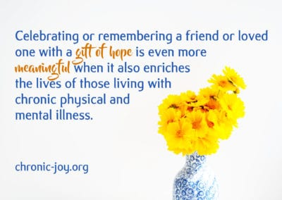 Celebrating or remembering a friend or loved one