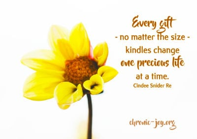 Every gift - no matter the size - kindles change one precious life at a time.