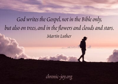 God writes the Gospel, not in the Bible only, but also on trees, and in the flowers and clouds and stars.