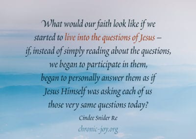 What would our faith look like if we started to live into the questions of Jesus – if, instead of simply reading about the questions, we began to participate in them, began to personally answer them as if Jesus Himself was asking each of us those very same questions today?