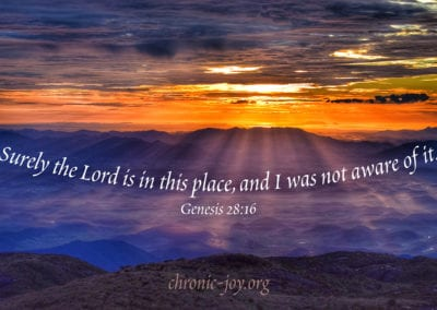 Surely the Lord is in this place, and I was not aware of it. (Genesis 28:16)