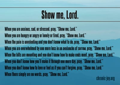 """When you are anxious, sad, or stressed, pray, """"Show me, Lord."""""""