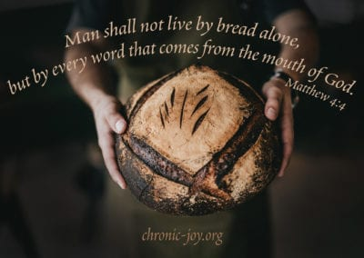 """""""Man shall not live by bread alone, but by every word that comes from the mouth of God."""" Matthew 4:4"""